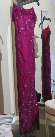 Hand-made, size 5/6, Scala burgundy beaded dress.  Perfect for any formal event.  Very elegant New w