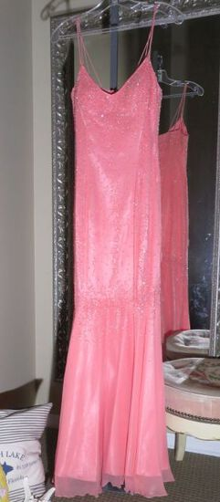 B' Dazzle, size 6, Peachy Pink beaded dress with spaghetti straps. Perfect for prom or homecoming. B