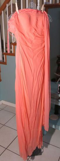 B' Dazzle, size 6,  Peachy Pink beaded dress,strapless