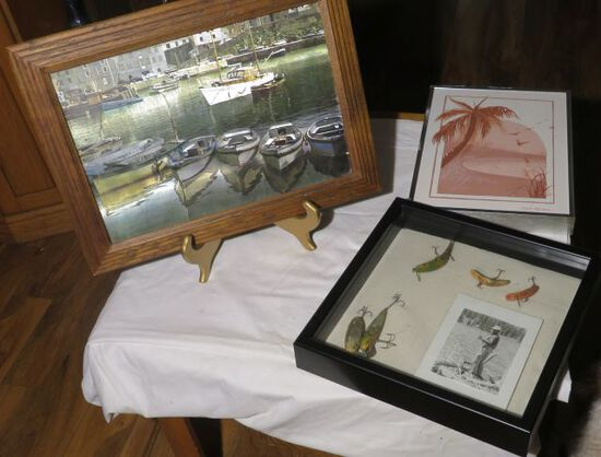 Boat pictures, painting by local artist and antique lure shadow box