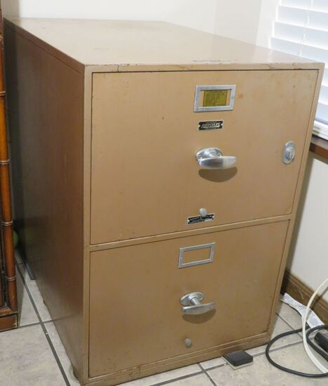 Two drawer, concrete lined safe. 20 W x 31 D x 29 H