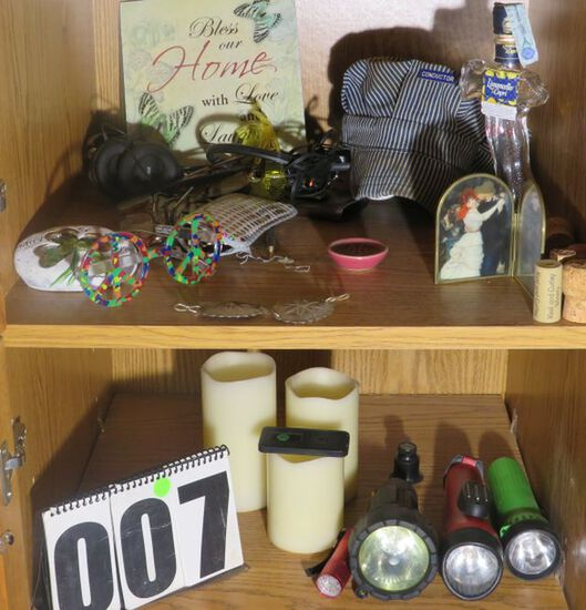 Assortment of flashlights, led candles, eye glasses including 70s-peace-sign-glasses