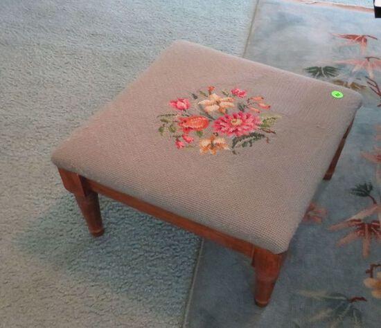 Needle point foot stool, 12x12x6 wood
