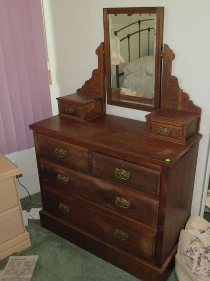 Early American, dresser chest with Mirror Antique early 1930's 36wx18deep x56' tall