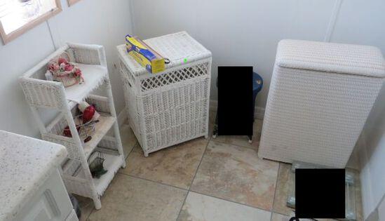 4 Piece wicker set, night stand laundry basket, towel holder, Mirror