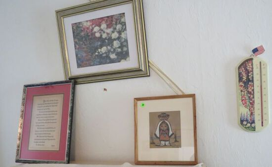 Grouping of 3 framed prints and a thermometer