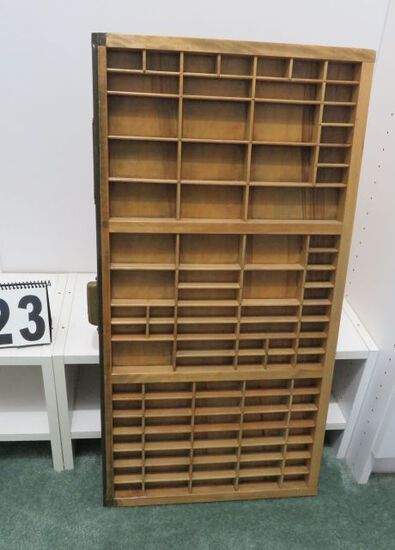 group of antique printers trays, 32'hx16''w
