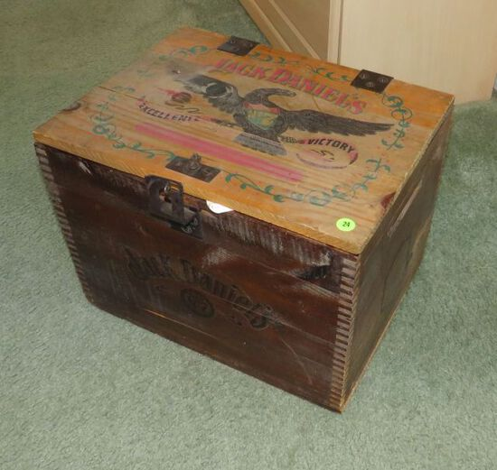 vintage wood Jack Daniels whiskey case with needlepoint supplies