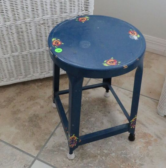 Stool, small metal hand painted 16 inches high