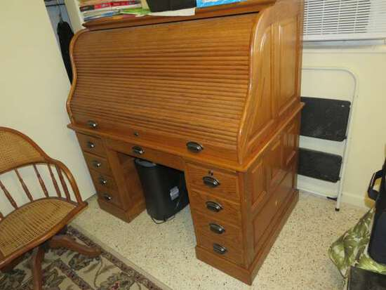 oak roll top desk with keyboard tray