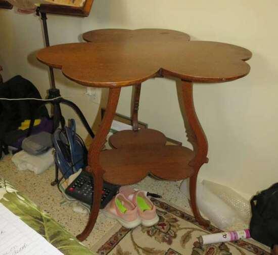 antique oak cloverleaf design lamp table with lower shelf
