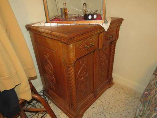 antique ornate oak chest from sewing machine cabinet