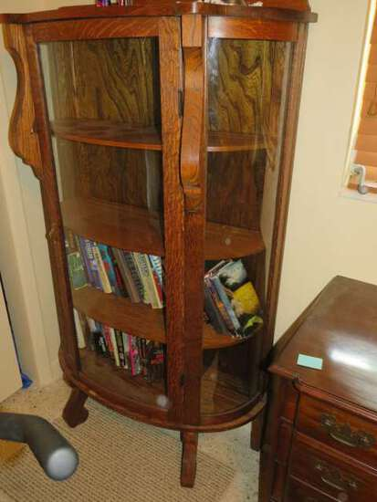 oak bow front glass display cabinet