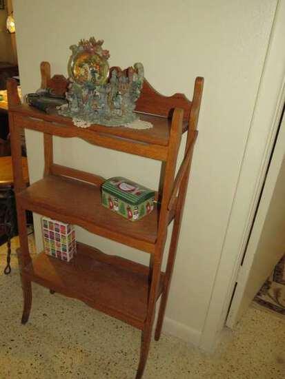 oak bookshelf with 3 open shelves