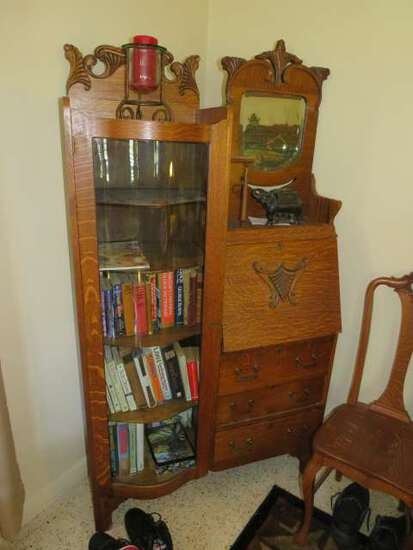 antique oak drop leaf desk and bowfront glass door cabinet combination with mirror