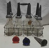 8 Quart oil cans w/metal spouts & carrier
