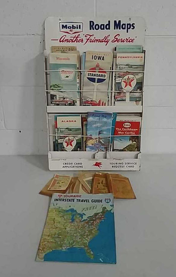 Mobil road map tin display and maps