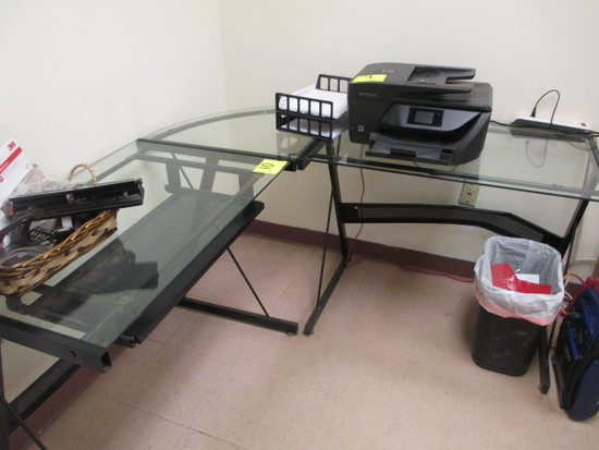 GLASS TOP DESK WITH RIGHT RETURN 24 X 60 X 60