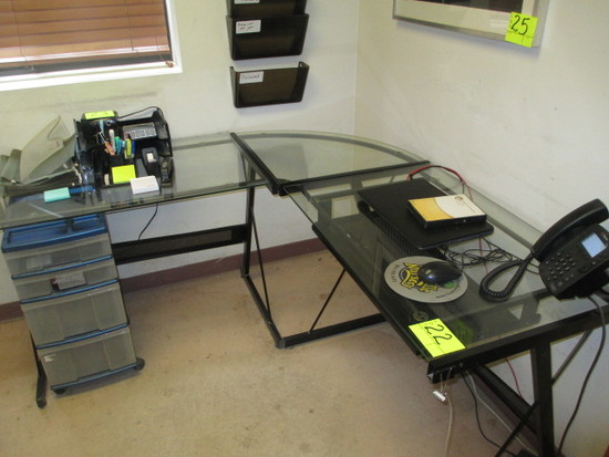 GLASS TOP DESK WITH LEFT RETURN 24 X 60 X 60 IN.