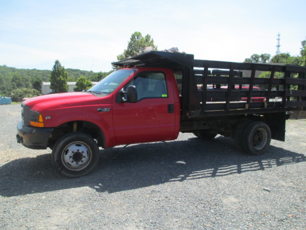2000 FORD TRUCK- GAS  F-450  12 FT. STAKEBODY ELECTRIC HOIST  DUMP 2 WD-ONE OWNER
