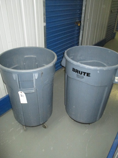 TRASH CANS-PAIR-NO LIDS-WITH CASTERS