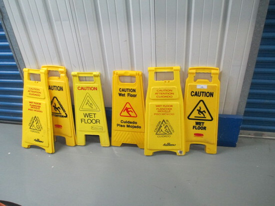 SIGNS-(6) CAUTION/SLIPPERY FLOOR SIGNS 27 IN. TALL
