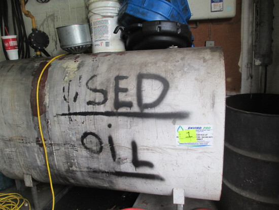 LOT-275 GAL. OIL TANKS & ASSORTED OIL DRAIN PANS-FORK LIFT AVAILABLE FOR LOADING