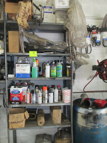 LOT-SUPPLIES-INCLUDES LUBES/THINNER/REAR DUALLY CHEVY TRUCK HUBS/A/C LINES/PROPANE TANK/ MISC