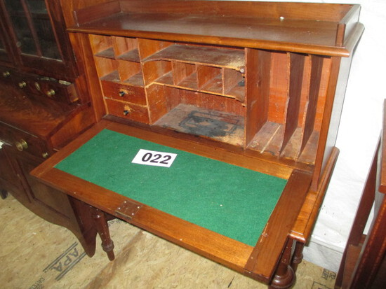MAHOGANY WRITING DESK-VICTORIAN STYLE-1880'S-90'S- 39 W 48 IN TALL