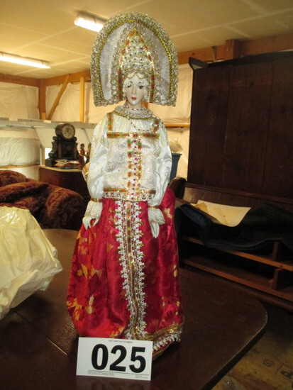 RUSSIAN DOLL-FULL LENGTH HAIR-IN WEDDING DRESS APPROX 2 FT TALL