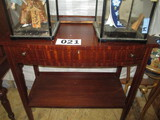 SIDE BOARD/TABLE -HEPPPLEWHITE-MAHOGANY WITH INLAY FEATURED  LEGS BOWFRONT DOOR