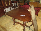 MAHOGANY TABLE WITH CLAW FEET 44 X 44  CLOSED SIZE- INCLUDES 16' LEAF IN ADDITION