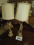 PR. LAMPS=METAL & CERAMIC CHERUBS WITH WREATHS