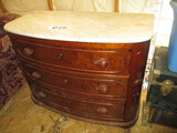 MARBLE TOP 3 DRAWER BOW FRONT MAHOGANY DRESSER. 30 IN  CARVED HANDLES