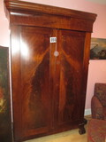 LARGE MAHOOGANY W/  BURL FRONT  WARDROBE. WILL COME APART FOR TRANSPORT. 53W X 90T X 20 IN DEEP