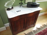 MAHOGANY MARBLE TOP SCALLOP FRONT SIDEBOARD 36 W X 18 D X 30 IN. TALL