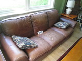 BROWN LEATHER SOFA-7 FT