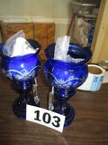 PR. BLUE TINT VASES WITH CRYSTAL  PENDANTS