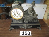 MANTLE CLOCK-PORCELAIN FACE WITH STATUE