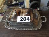 LOT-SILVER PLATE SERVING TRAY AND (2) CHAFFING  DISHES