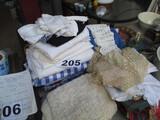 BOX LOT-ASST. NEEDLEPOINT/CLOTH NAPKINS/TABLE CLOTHS ETC.