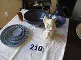 LOT-INCLUDES A 4 PC. SERVING SET/VASE/FAUX MARBLE STATUE/GILDED CUPS