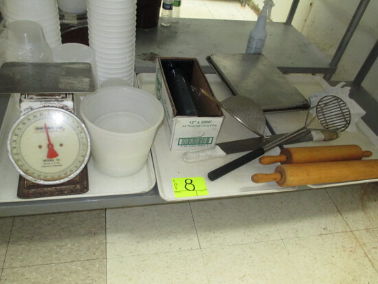 LOT-UNDER TABLE INCLUDES SCALE/ROLLING PIN/TRAYS/SPICES