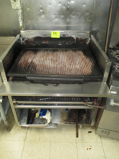36 IN GAS CHARBROILER ON ROLLING STAND 3 ZONES FMB 36 36 X 33 IN.
