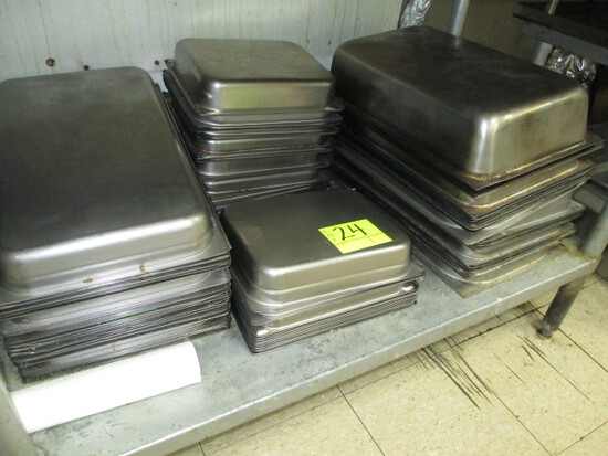 LOT- WELL PANS APPROX 55 QTY-ASSORTED SIZES