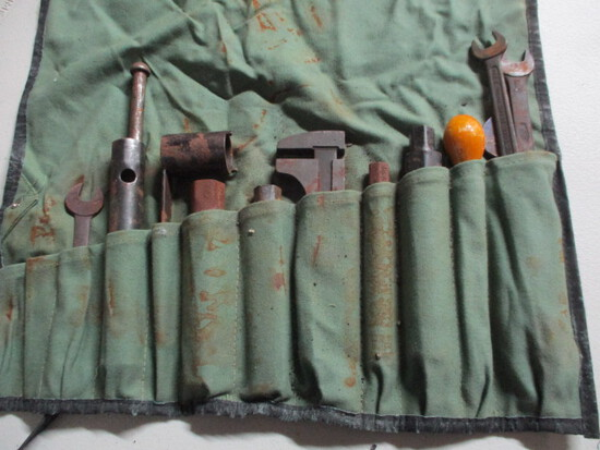 VINTAGE JAG TOOL KIT-13 POUCH-GREEN CANVAS