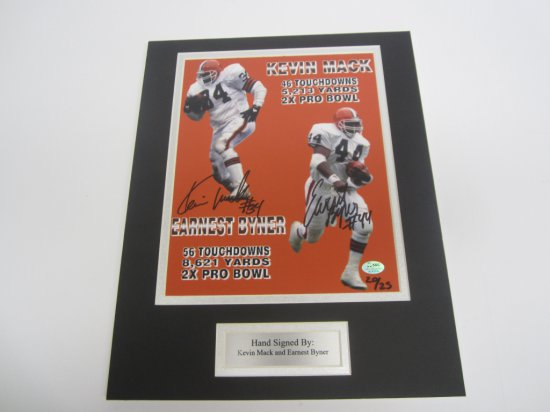 Kevin Mack, Earnest Byner Cleveland Browns signed autographed Matted 8x10 Photo SGC Coa