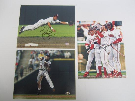 Lot of 3 Omar Vizquel Cleveland Indians signed autographed 8x10 Photos Certified Coa
