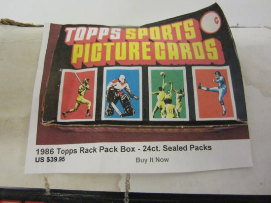 1986 Topps Sports Picture Cards Rack Pack Box Sealed Packs