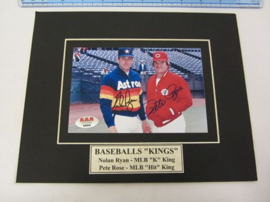 "NOLAN RYAN & PETE ROSE Signed Autographed Matted ""Baseball Kings"" Photo Certified CoA"